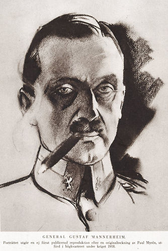 A printed portrait of Mannerheim from a drawing by Paul Myrén (1884-1951), a Swedish volunteer officer and reportage artist in the Finnish war of liberation. It appears to have been distributed among the White army so that soldiers could recognize their commander-in-chief.