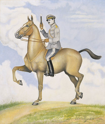 "A painting of Marshal Mannerheim obtained in 1953 by the Finnish War Museum, interesting insofar as the artist's frame of mind is uncertain. It could have been naivist piety, but the signature ""Ukko Uljakas"" (Old Man Valour) suggests irony."