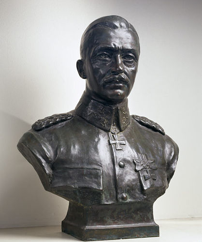 General Mannerheim, bronze bust, 70 cm, sculptured by Emil Wikström (1864-1942) in 1919.
