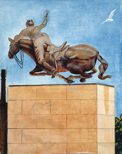 A painting of the statue of Mannerheim; He seems to be falling of his horse.