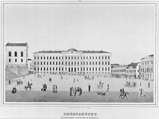 The Senate Building, Helsinki 1851 (half-tone lithograph, F.Liewendal).