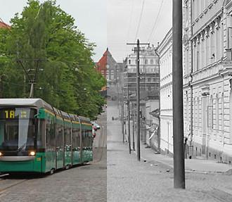 La Rue Snellman (à gauche) et la rue Nikolaï (à droite) séparées par un siècle : ce sont les ancien et nouveau noms de cette rue du quartier Kruununhaka à Helsinki.