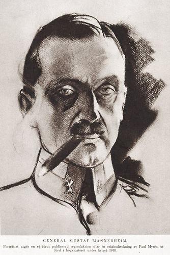 Gedrucktes Mannerheim-Porträt einer Zeichnung von Paul Myrén (1884-1951), ein freiwilliger schwedischer Offizier im finnischen Bürgerkrieg auf der Seite der Weißen.