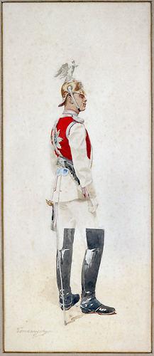G.C. Mannerheim in seiner Paradeuniform als Offizier der Chevalier-Garde der Kaiserin Maria Feoderowna. Aquarell.