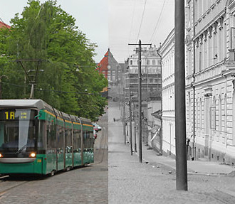 Separated by a century: Snellman Street (left) and Nikolai Street (right) are the new and old names for a road in the Helsinki neighbourhood of Kruununhaka.