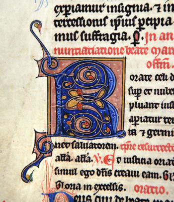 A beautiful initial letter R in a missal of the 13th or 14th century.
