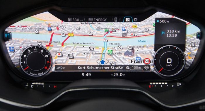 Audi is premiering the world's first user-programmable instrument cluster with real-time 3D graphics, created using Finnish firm Rightware's toolkit.