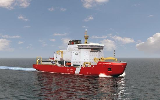 """阿克北极技术公司是""""John G. Diefenbaker""""号的担纲设计公司,这艘船将于2017年递交给加拿大海岸警卫队。它可在3海里翻卷起2.5米厚的冰层。"""