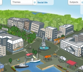 Over an animated cartoon Helsinki background, Hei Finland helps users figure out what to say in Finnish.