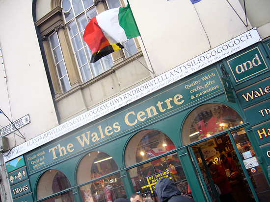 The facade of a souvenir shop in Wales, with the longest place name in Europe written above the shop.