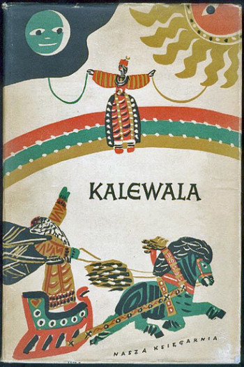 The cover of Kalevala; a man riding a horse-driven sleigh and pointing up to the sky towards a lady standing on a rainbow.