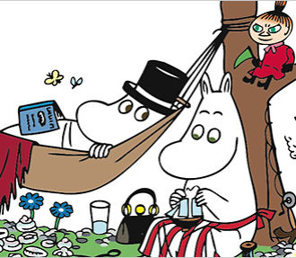 Most of the major Moomins, from left to right: the Snork maiden, Moomintroll, Moominpappa (in hammock with top hat), Moominmamma, Little My and Snufkin. Photo: Moomin Characters Ltd