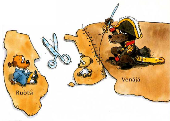 Children also learn that in 1809 Finland, in the middle, was ceded by Sweden (Ruotsi) to Russia (Venäjä).