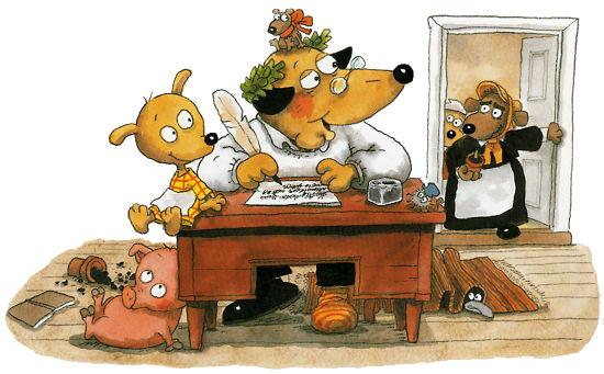 在2005年出版的《狗山,玛莎和鲁纳伯里》这本书中,狗山的孩子们遇见了芬兰诗人鲁纳伯里。小玛莎的宠物猪闯进了睡着的诗人的书房,把里面弄得一团糟。鲁纳伯里醒来后,发现自己的鼻子上有一朵花,这倒是激发起了他创作一首新诗的灵感。