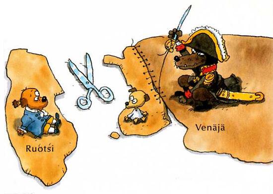 孩子们学到,在1809年,芬兰被瑞典(Ruotsi)割让给了俄国(Venäjä)。