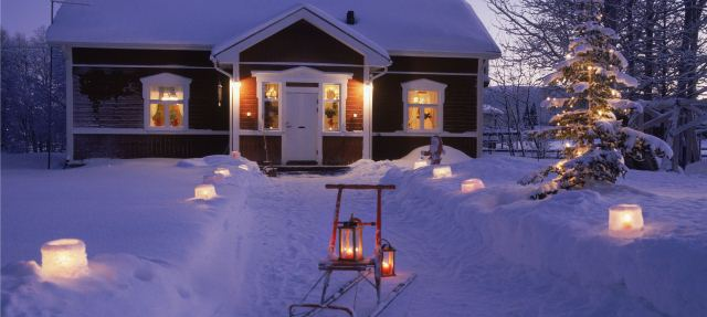 First Christmas in Finland, cottage, skiing, snow, ice lantern