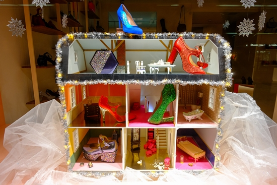 For Finnish shoe designer Minna Parikka, who runs a flagship store on Alexander Street, the holiday season offers the perfect excuse to create an elaborate, decorative window display for her elaborately decorated shoes and accessories – as if she needed an excuse.