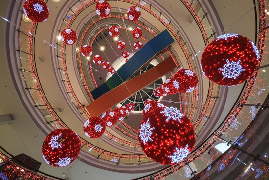 Look up to get a down-to-earth view of the decorations that adorn the atrium at Kamppi, a downtown Helsinki shopping centre.