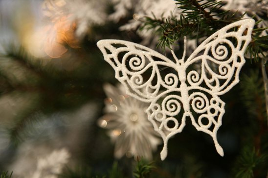 A filigree butterfly graces a Christmas tree.