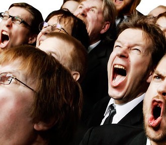 Shouting match: Huutajat, a choir from the northern Finnish city of Oulu, screams music at the audience.