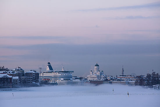 Helsinki's South Harbour is shrouded in mist as temperatures dip to minus 20 degrees Celsius and the sea freezes over.Photo: Tim Bird