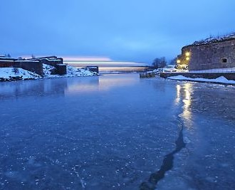 Icy waters line the way as the ferry nears the island fortress of Suomenlinna, a 15-minute ride from downtown Helsinki.