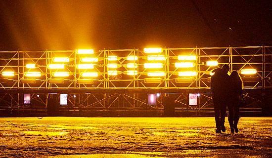"""Old low-pressure sodium lamps from the Helsinki–Turku highway were used in Jenni Kääriäinen's light installation """"Sodium Sun."""" Photo: Leena Karppinen"""