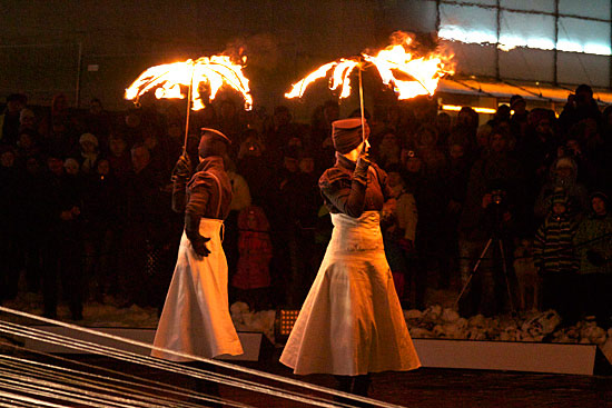 "In one of the four episodes of ""Disk,"" performers from Fire Troupe Etna protect themselves from the rain with burning umbrellas. Photo: Leena Karppinen"