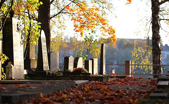 Les feuilles mortes contribuent à l'atmosphère paisible d'un cimetière. Photo: Tim Bird