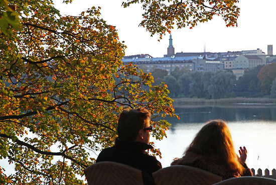 A view of life: This café overlooking Töölö Bay stays open as long as the weather holds. Photo: Tim Bird