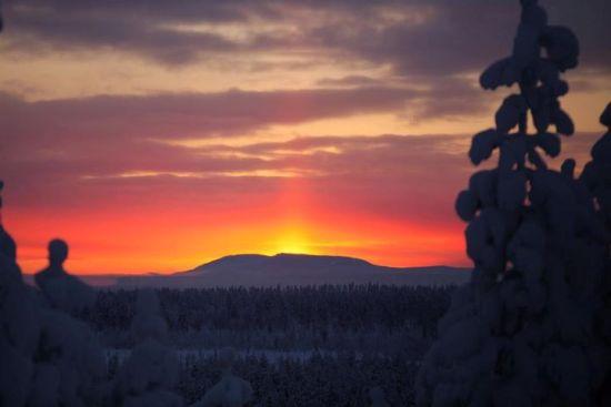 """Der erste Sonnenuntergang: """"Im hohen Norden Finnlands kann die Sonne für mehr als sieben Wochen hinter dem Horizont verschwinden, je nachdem wie weit nördlich man sich befindet"""", sagt der Fotograf Jukka Wuolijoki. """"Wo dies geknipst wurde, findet der erste Sonnenaufgang am 5. Januar statt. Die Sonne geht gerade mal eine halbe Stunde auf, dann geht sie wieder unter. Daher die rote Lichtsäule. """" Foto: Jukka Wuolijoki"""