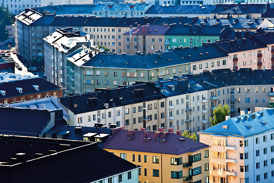 Viewed from the tower of the Olympic Stadium, the neighbourhood of Töölö becomes a pattern of colour, texture and perspective. Photo: Esko Jämsä