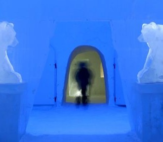 Bears made out of ice guard a Kemi Snow Castle hallway. (An uncropped version of this photo is included in the slideshow below.)
