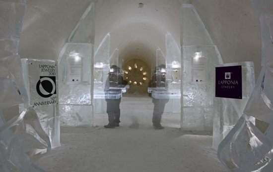 Kemi Snow Castle includes exhibition spaces – this one was devoted to celebrating Lapponia Jewelry's 50th anniversary. Photo: Tim Bird