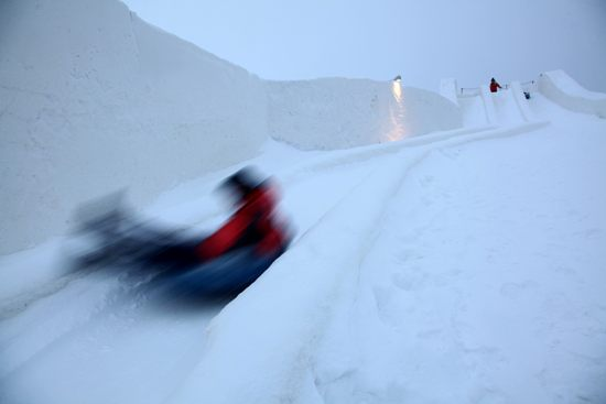Living on the edge: You can sled along the ramparts. Photo: Tim Bird