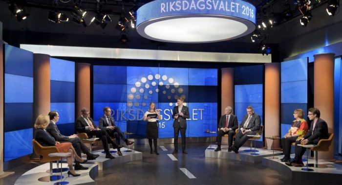 Party leaders take part in a TV debate before the 2015 parliamentary election.