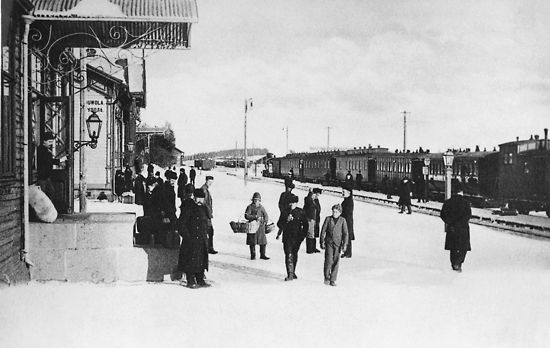 A railway line from Helsinki to St Petersburg was opened in 1870. This picture from the early 20th century shows the station at Kouvola, SE Finland, one of the stops along the line.