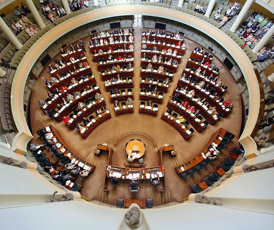 La actual cámara de debates del Parlamento.
