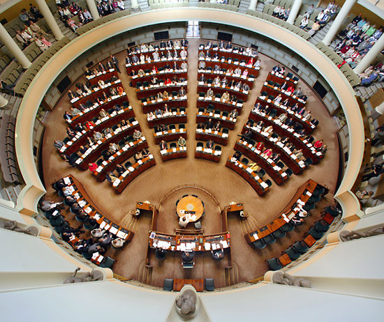 A bird's-eye view of the parliamentary debating chamber.
