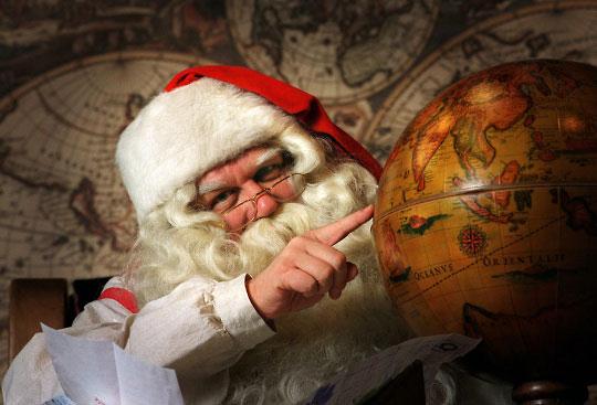 为了及时把礼物送到每家每户,圣诞老人需要非常仔细地计划路线,而且要利用不同的时区。 照片:马蒂卡努来宁 / 杂志图片公司