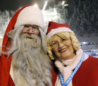 Side by side with every great man is a great woman: Santa and Mrs Claus like to attend skijumping World Cup competitions and other sports events held near their home in northern Finland whenever their busy schedule allows.