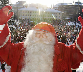 The true Santa Claus makes a tradition of travelling from Finnish Lapland to visit downtown Helsinki every year at the start of the Christmas season.