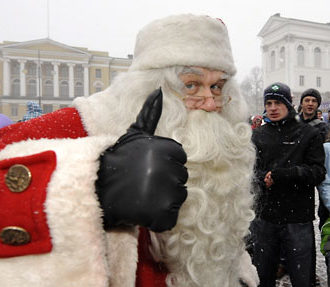 All systems go: Santa visits Senate Square in Helsinki, to the delight of both kids and grown-ups.