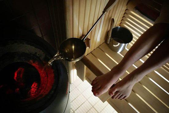 In the sauna.
