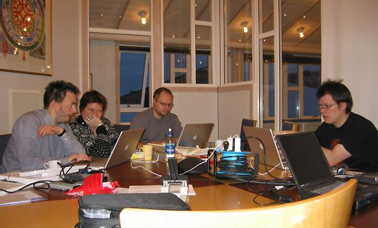 More of the Sámi spellchecker team: Trond Trosterud (left), Maaren Palismaa, Thomas Omma and Børre Gaup.