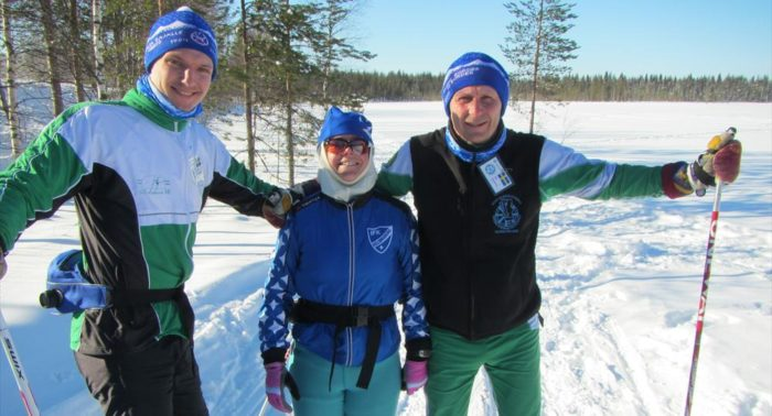 Josefin Palmén (centre) takes a break to smile for the camera with a couple of her fellow Border to Border skiers.