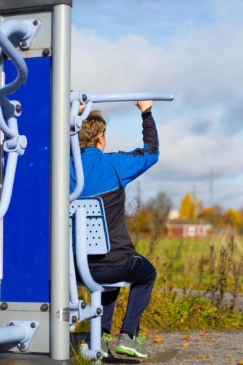 Trailside exercise machines inspire joggers and walkers to try their hand.