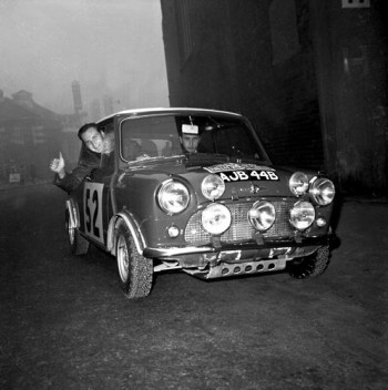imo Mäkinen, born 1938, is one of the greats of rally driving. The picture is from the Monte Carlo rally of 1965, which Mäkinen won in a Mini Cooper.