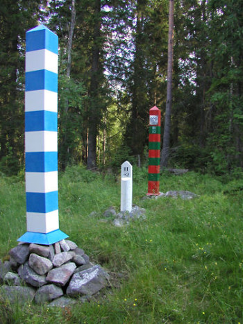 Boundary marks on a border of Finland and Russia.