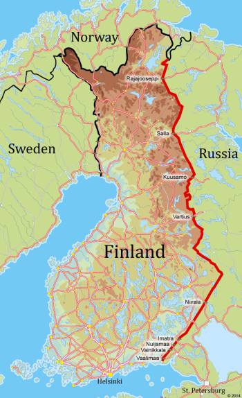 A border that once divided now unites thisisfinland finlands easter border in red and the most active frontier crossing points gumiabroncs Choice Image
